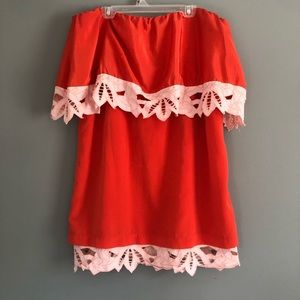 Judith March Orange Strapless Floral Dress Large
